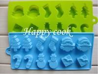 Wholesale Christmas Style Cake Silicone Ice Cube Christmas Ice Mold Free Shipping, 60pcs