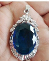 Blue Cubic Zirconia Sapphire 18KWGP Crystal Pendant and necklace
