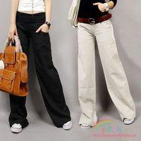 2012 fashion latest model Linen flare trousers fluid straight pants female trousers wide leg pants plus FREE SHIPPING
