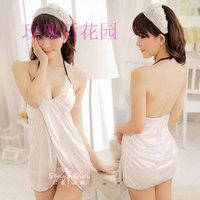 White sexy vent sleepwear women's sexy underwear nightgown set t