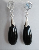 Black Agate Jade Silver Fortune letter Dangle Earrings