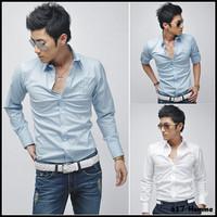 2012 new Men's shirt Fashion Casual Slim Fit Stylish cotton Long Sleeve dress shirts Luxury