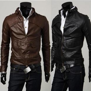 Hot Free shipping men's leather men's leisure Slim jacket leather high quality leather jacket M-L-XL-XXL
