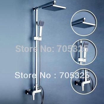 "Detroit Bathware 8"" Squest Shower Head Wall Mounted Bathroom with Handheld Shower Rainfall Faucet Set Chrome  JN-0017"