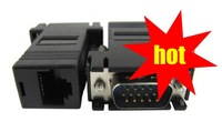 VGA extender male to lan Video Extender to CAT5 CAT6 RJ45 Cable Adapter free shipping