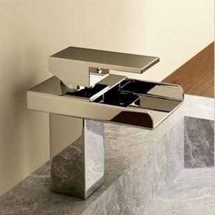 Free shipping European style single lever handle bronze waterfall basin vanity sink faucet tap kitchen tap brush nickel