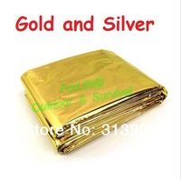 Freeshipping Fedex 50pcs/lot gold  thermal emergency blanket Survival Rescue blanket first aid blanket210cm*140cm