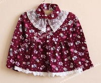 FREE SHIPPING!  2013 new Korean girl Lace collar cotton  long sleeve t shirt 6pcs/lot
