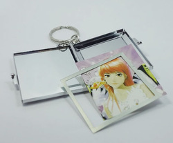 "Rectangle Mirror Keychain Metal Mirror keyring Insert photo 1.85*1.73"" Free Shipping 200PCS/LOT(China (Mainland))"
