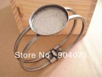 25mm round Antique Silver color Brass Bracelet with 1 pad,antique brass,Bracelet Base, leadfree,nickel free,10pcs/lot