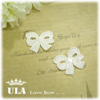 Wholesale applique 2*2.5cm bow DIY Decoration Lace Fabric Paste Decoraive Cloth Paste  Lace Applique 140pcs/lot