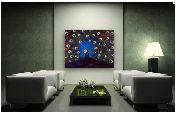 Pintura Textured decorada moderna do pavão da arte, grande arte da parede, decoração Home superior