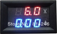 Free  shipping ,  4.5-30V  10A voltage and current VA DC combo dual display LED digital car voltmeter