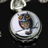Lovely Owl Pocket Watch Silver Necklace