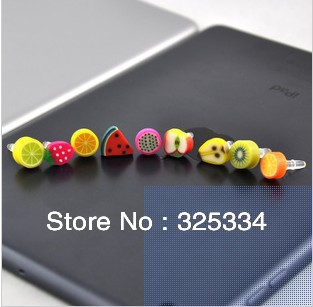 wholesale 100pcs Cute Fruit anti dust plug for iphone and 3.5mm earphone cap for mobile phone free shipping
