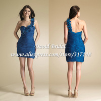 YAG635 Fashion New Pleated Mini One Shoulder Cocktail Dress Blue