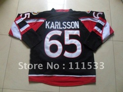 Free shipping,Ice hockey jersey,Senators #65 Erik Karlsson black jersey,hockey jersey,size48-56,can mix order(China (Mainland))
