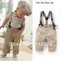 Baby suit boy children short sleeve shirt pant clothing set clothes +pants +braces 3pcs/sets