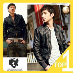 Fast ship! Good Quality New 2012 Korean Fashion Slim men's leather jacket Washed skin in add cotton or no cotton Style B108(China (Mainland))