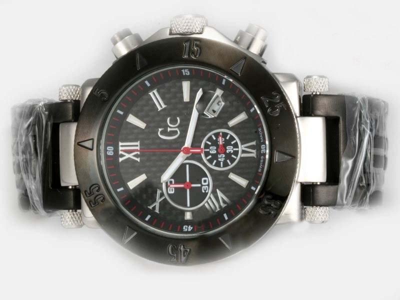 GC Japanese Quartz  Chronograph Movement Black Carbon Fibre Style Dial Watch