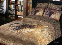 4pcs cotton satin 3D leopard animal printed black livingroom bedroom bedlinen duvet cover set bedding set