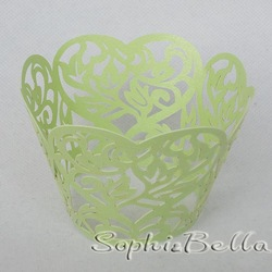 24Pcs W057G (2 Packs) Green Color lace cupcake wrappers baking wrapers laser cut for Party Favor C(China (Mainland))