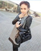 2013 autumn and winter black leather sleeve all-match slim patchwork fur woolen one-piece dress fashion size M L XL w397