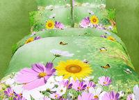 Free UPS transport 3 d 100% cotton 4pcs  bedding set to color floret sheet bedding bag pillowcase