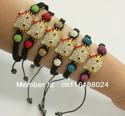 wholesale hello kitty shamballa bracelet free shipping(China (Mainland))