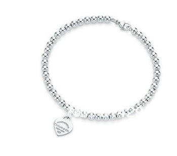 Free  shipping  925 sterling  Heart Tag mini bead type bracelet men and women