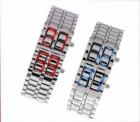 Free Shipping Drop shipping Men's style Red &Blue LED Metal Lava Style Iron Samurai Watch W027p