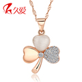 Rose gold necklace female 925 pure silver pendants 2012 fashion long design chain four leaf clover accessories lovers gift
