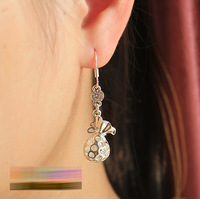 S925 pure silver earrings Women drop earring birthday day gift gentlewomen purse earrings