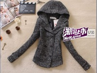 Free shipping 2012 Winter women new wool coat Korean college wind slim hooded all-match wool suit small
