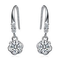 Kastm Brand 100% Real 925 Sterling Silver Platinum  crystal flower drop earrings fine jewelry promotion kse035