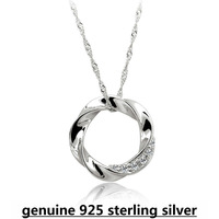 Hot sales High Quality 100% pure 925 sterling silver circle crystal pendant necklace women fine jewelry DD004