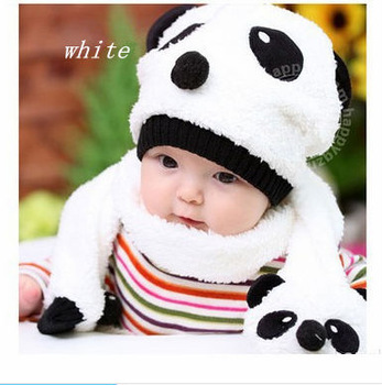 30pcs/lot Winter hot sale fshionable 100% wool children panda hat and scarf two-piece set baby star accersories free delivery