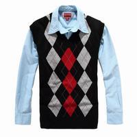 Men V-neck colourblock checker sleeveless vest cardigan sweater free shipping