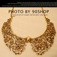 <Min.order $15,can mix models> Europe fashion retro gold court hollow carving metal collar necklace 1106