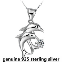 wholesale 925 sterling silver  women double dolphine swiss beauty sparkling pendant choker necklace DD007