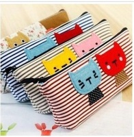 free shipping 20pcs/lot Simple sweet cat pencil case,Creative canvas bag, Promotional Cosmetic Bag