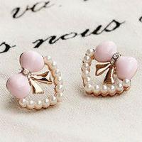 E388054 pretty girls earrings love heart bow pearl stud earrings FREE SHIPPING