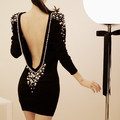 free shipping ,Sexy big racerback pearl inlaying elegant ladies slim hip party dress(China (Mainland))