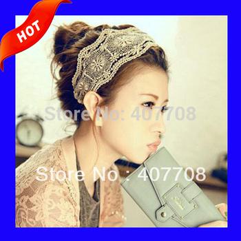Free shipping! 2013 Fashion Women's Wide Hollow Lace elastic Headband Vintage Hairband hair  headwear B02118
