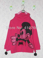 Sample sport mickey mouse childrens Diamond clothing girl's top shirts plus velvet Hooded Sweater hoodie coat overcoat topcoat