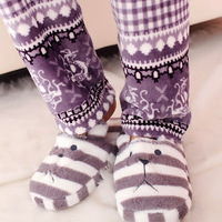 Cartoon pear stripe home shoes plush thermal at home cotton-padded slippers 9002
