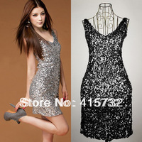 Free Shipping 2014 Plus Size Sexy V-neck Fashion Mini Disco Dress Paillette Elastic Evening Dress Short Sequined Party Dress