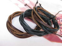 wholesale 50pcs/lot mix diff style handmade LEATHER BRACELET Braided Cord Adjustable Surfer Style Hemp Men's Fashion LB40