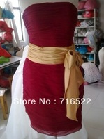 SH42 New style red short evening dress with ribbon