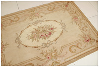 3'X5' Hand Woven Aubusson Area Rug Antique French Pastel Floor Carpet Decorative